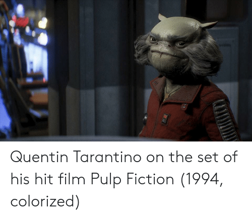 Pulp Fiction, Fiction, and Film: Quentin Tarantino on the set of his hit film Pulp Fiction (1994, colorized)