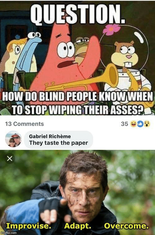 Asses, How, and Com: QUESTION  HOW DO BLIND PEOPLE KNOWWHEN  TO STOP WIPINGTHEIR ASSES?  13 Comments  35  Gabriel Richème  They taste the paper  X  Improvise. Adapt.  Overcome.  imgfip.com