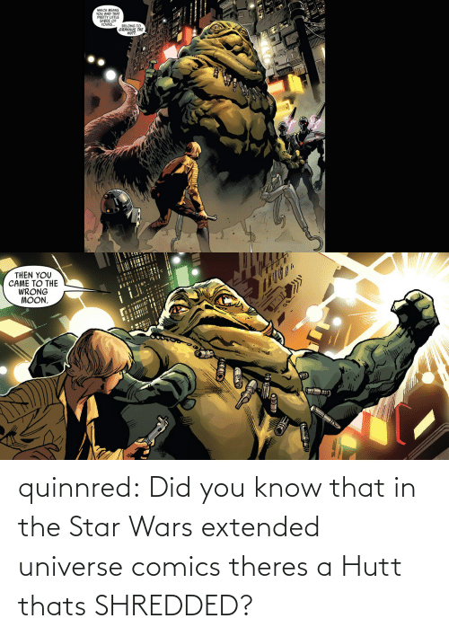 Star Wars: quinnred:  Did you know that in the Star Wars extended universe comics theres a Hutt thats SHREDDED?