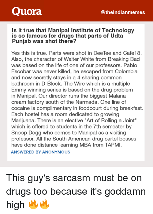"""drug cartel: Quora  theindianmemes  Is it true that Manipal Institute of Technology  is so famous for drugs that parts of Udta  Punjab was shot there?  Yes this is true. Parts were shot in DeeTee and Cafe18.  Also, the character of Walter White from Breaking Bad  was based on the life of one of our professors. Pablo  Escobar was never killed, he escaped from Colombia  and now secretly stays in a 4 sharing common  bathroom in D-Block. The Wire which is a multiple  Emmy winning series is based on the drug problem  in Manipal. Our director runs the biggest Malana  cream factory south of the Narmada. One line of  cocaine is complimentary in foodcourt during breakfast.  Each hostel has a room dedicated to growing  Marijuana. There is an elective """"Art of Rolling a Joint""""  which is offered to students in the 7th semester by  Snoop Dogg who comes to Manipal as a visiting  professor. All the South American drug cartel bosses  have done distance learning MBA from TAPMI.  ANSWERED BY ANONYMOUS This guy's sarcasm must be on drugs too because it's goddamn high 🔥🔥"""