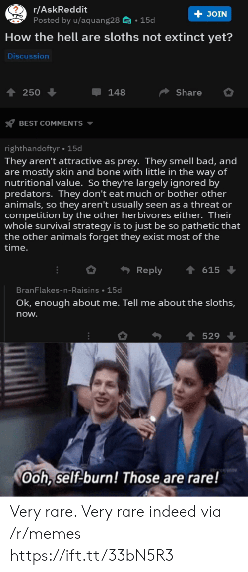 Askreddit: r/AskReddit  Posted by u/aquang28  + JOIN  15d  How the hell are sloths not extinct yet?  Discussion  Share  250  148  BEST COMMENTS  righthandoftyr 15d  They aren't attractive as prey. They smell bad, and  are mostly skin and bone with little in the way of  nutritional value. So they're largely ignored by  predators. They don't eat much or bother other  animals, so they aren't usually seen as a threat or  competition by the other herbivores either. Their  whole survival strategy is to just be so pathetic that  the other animals forget they exist most of the  |time.  Reply  615  BranFlakes-n-Raisins 15d  Ok, enough about me. Tell me about the sloths,  now.  529  Ooh, self-burn! Those are rare! Very rare. Very rare indeed via /r/memes https://ift.tt/33bN5R3