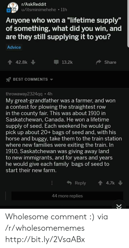 "County Fair: r/AskReddit  u/itsminimehehe 11h  Anyone who won a ""lifetime supply""  of something, what did you win, and  are they still supplying it to you?  Advice  42.8k  13.2k  Share  BEST COMMENTS  throwaway2324qq 4h  My great-grandfather was a farmer, and won  a contest for plowing the straightest row  in the county fair. This was about 1910 in  Saskatchewan, Canada. He won a lifetime  supply of seed. Each weekend he would go  pick up about 20+ bags of seed and, with his  horse and buggy, take them to the train station  where new families were exiting the train. In  1910, Saskatchewan was giving away land  to new immigrants, and for years and years  he would give each family bags of seed to  start their new farm.  Reply  4.7k  44 more replies Wholesome comment :) via /r/wholesomememes http://bit.ly/2VsaABx"
