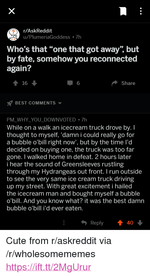 """Cute, Driving, and Run: r/AskReddit  u Plu  meriaGoddess 7h  Who's that """"one that got away"""" but  by fate, somehow you reconnected  again?  16  6  Share  BEST COMMENTS ▼  PM WHY YOU DOWNVOTED7h  While on a walk an icecream truck drove bv. I  thought to myself. 'damn i could really go for  a bubble o'bill right now', but by the time l'd  decided on buying one, the truck was too far  gone. I walked home in defeat. 2 hours later  i hear the sound of Greensleeves rustling  through my Hydrangeas out front.I run outside  to see the very same ice cream truck driving  up my street. With great excitement i hailed  the icecream man and bought myself a bubble  o'bill. And you know what? it was the best damn  bubble o'bill i'd ever eaten  Reply  40 <p>Cute from r/askreddit via /r/wholesomememes <a href=""""https://ift.tt/2MgUrur"""">https://ift.tt/2MgUrur</a></p>"""