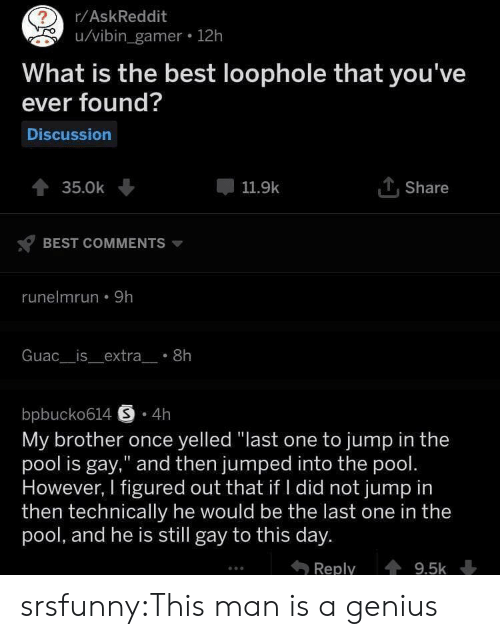 "Tumblr, Best, and Blog: r/AskReddit  u/vibin_gamer 12h  What is the best loophole that you've  ever found?  Discussion  TShare  35.0k  11.9k  BEST COMMENTS  runelmrun 9h  Guac__is_extra_ 8h  bpbucko614 S 4h  My brother once yelled ""last one to jump in the  pool is gay,"" and then jumped into the pool.  However, I figured out that if I did not jump in  then technically he would be the last one in the  pool, and he is still gay to this day.  Reply  9.5k srsfunny:This man is a genius"