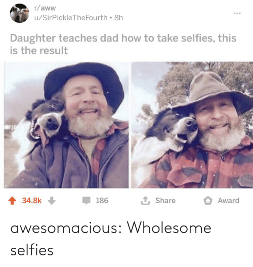 daughter: r/aww  u/SirPickleTheFourth 8h  Daughter teaches dad how to take selfies, this  is the result  1 Share  1 34.8k  186  Award awesomacious:  Wholesome selfies