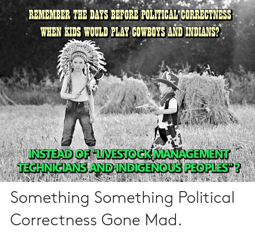 Dallas Cowboys, Kids, and Mad: R.EMEMBER THE DAYS BEFORE POLITICAL CORRECTNESS  WHEN KIDS WOULD PLAY COWBOYS AND INDIANS?  INSTEAD OF LVESTOCK MANAGEMENT  TECHNICIANS AND INDIGENOUS PEOPLES?  ERUDVLCRE Something Something Political Correctness Gone Mad.