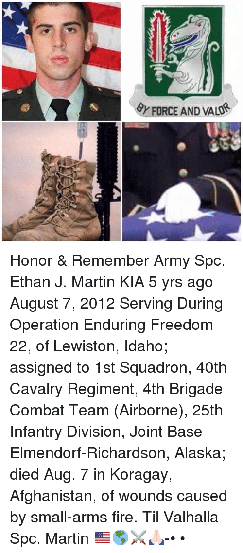 Fire, Martin, and Memes: &r FORCE AND VALD Honor & Remember Army Spc. Ethan J. Martin KIA 5 yrs ago August 7, 2012 Serving During Operation Enduring Freedom 22, of Lewiston, Idaho; assigned to 1st Squadron, 40th Cavalry Regiment, 4th Brigade Combat Team (Airborne), 25th Infantry Division, Joint Base Elmendorf-Richardson, Alaska; died Aug. 7 in Koragay, Afghanistan, of wounds caused by small-arms fire. Til Valhalla Spc. Martin 🇺🇸🌎⚔️🙏🏻-• •