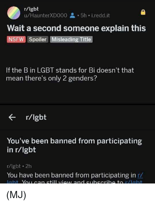 Lgbt, Memes, and Nsfw: r/lgbt  u/HaunterXD000 2 5h i.redd.it  Wait a second someone explain this  NSFW Spoiler Misleading Title  If the B in LGBT stands for Bi doesn't that  mean there's only 2 genders?  r/lgbt  You've been banned from participating  in r/Igbt  r/lgbt 2h  You have been banned from participating in r/ (MJ)
