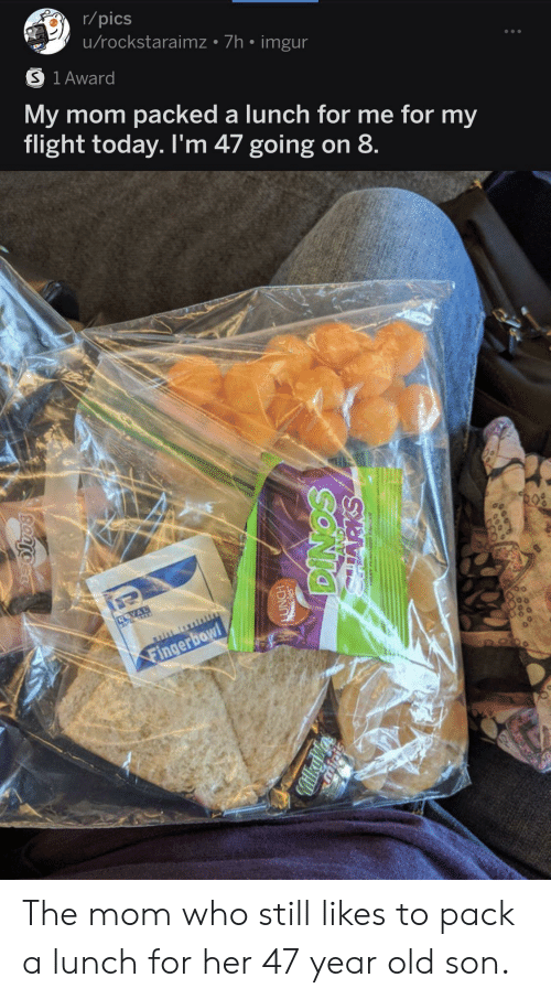 Flight, Imgur, and Today: r/pics  u/rockstaraimz 7h imgur  S 1 Award  My mom packed a lunch for me for my  flight today. I'm 47 going on 8  Fingerbowl  FOO  SONIO  MilkyV  Bantocr The mom who still likes to pack a lunch for her 47 year old son.