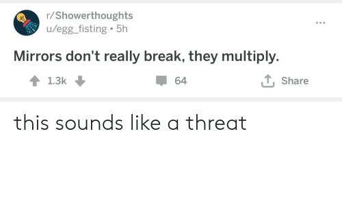 Break, Mirrors, and They: r/Showerthoughts  /egg_fisting 5h  Mirrors don't really break, they multiply.  T, Share  64  1.3k this sounds like a threat