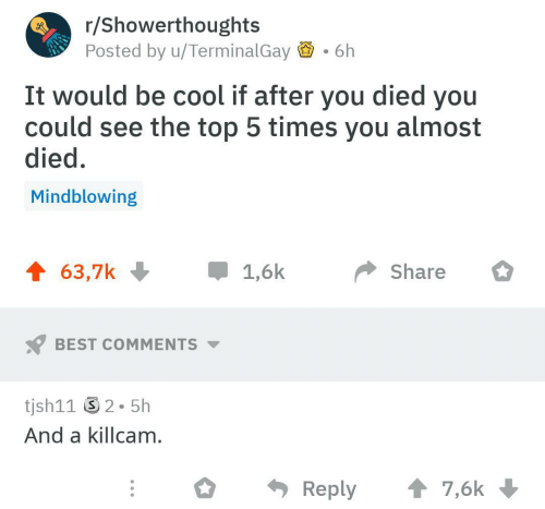 Best, Cool, and Best Comments: r/Showerthoughts  Posted by u/TerminalGay  6h  It would be cool if after you died you  could see the top 5 times you almost  died.  Mindblowing  Share  BEST COMMENTS  tjsh11 2-5h  And a killcam  Reply7,6k