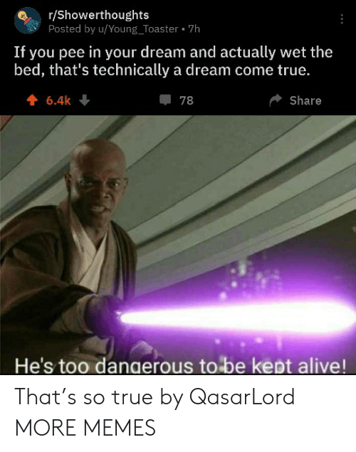 Too Dangerous: r/Showerthoughts  Posted by u/Young_Toaster 7h  If you pee in your dream and actually wet the  bed, that's technically a dream come true.  6.4k  78  Share  He's too dangerous to be kept alive! That's so true by QasarLord MORE MEMES