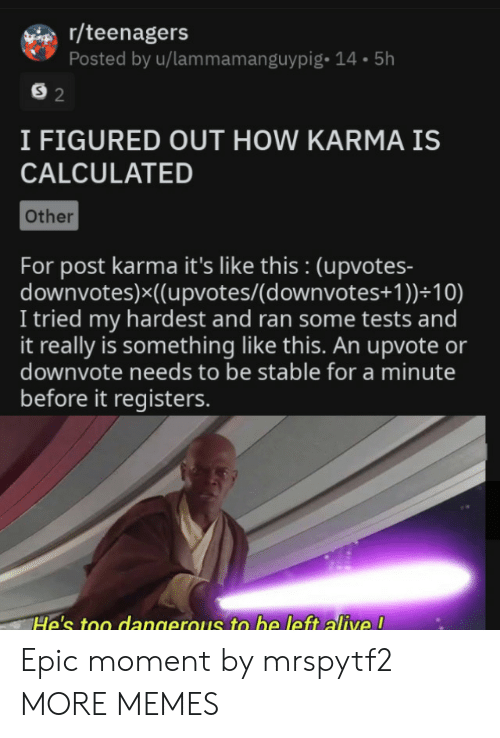 Karma: r/teenagers  Posted by u/lammamanguypig- 14.5h  S 2  I FIGURED OUT HOW KARMA IS  CALCULATED  Other  For post karma it's like this : (upvotes-  downvotes)x((upvotes/(d ownvotes+ 1 ))+10)  I tried my hardest and ran some tests and  it really is something like this. An upvote or  downvote needs to be stable for a minute  before it registers.  He's too dangerous to be left alive ! Epic moment by mrspytf2 MORE MEMES