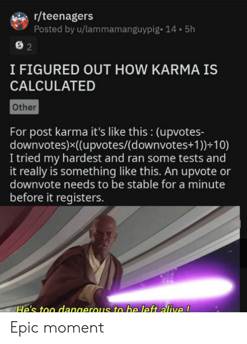 Karma: r/teenagers  Posted by u/lammamanguypig- 14.5h  S 2  I FIGURED OUT HOW KARMA IS  CALCULATED  Other  For post karma it's like this : (upvotes-  downvotes)x((upvotes/(d ownvotes+ 1 ))+10)  I tried my hardest and ran some tests and  it really is something like this. An upvote or  downvote needs to be stable for a minute  before it registers.  He's too dangerous to be left alive ! Epic moment