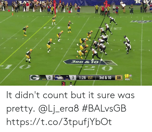 Memes, 🤖, and Sure: RA  BRD & 10  3rd & 10  1:26 IST  08  WBALTV It didn't count but it sure was pretty.  @Lj_era8  #BALvsGB https://t.co/3tpufjYbOt