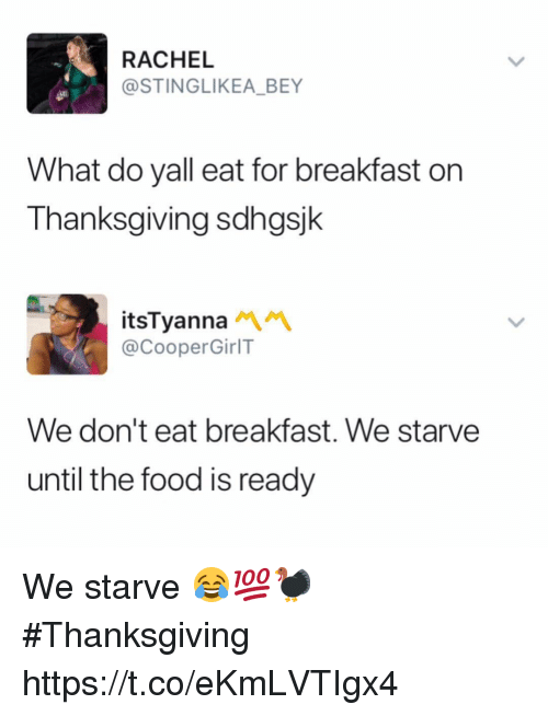 Food, Memes, and Thanksgiving: RACHEL  @STINGLIKEA_BEY  What do yall eat for breakfast on  Thanksgiving sdhgsjk  itsTyanna  @CooperGirlT  We don't eat breakfast. We starve  until the food is ready We starve 😂💯🦃 #Thanksgiving https://t.co/eKmLVTIgx4