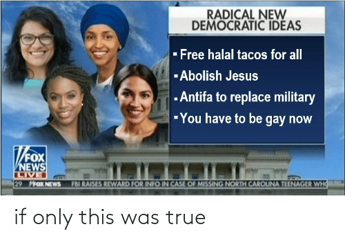 FBI: RADICAL NEW  DEMOCRATIC IDEAS  - Free halal tacos for all  -Abolish Jesus  - Antifa to replace military  -You have to be gay now  FOX  NEWS  LIVE  29 MFOX NEWS  FBI RAISES REWARD FOR INFO IN CASE OF MISSING NORTH CAROUNA TEENAGER WHO if only this was true