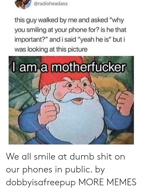 """Dank, Dumb, and Memes: @radioheadass  this guy walked by me and asked """"why  you smiling at your phone for? is he that  important?"""" and i said """"yeah he is"""" but i  was looking at this picture  l am a motherfucker We all smile at dumb shit on our phones in public. by dobbyisafreepup MORE MEMES"""