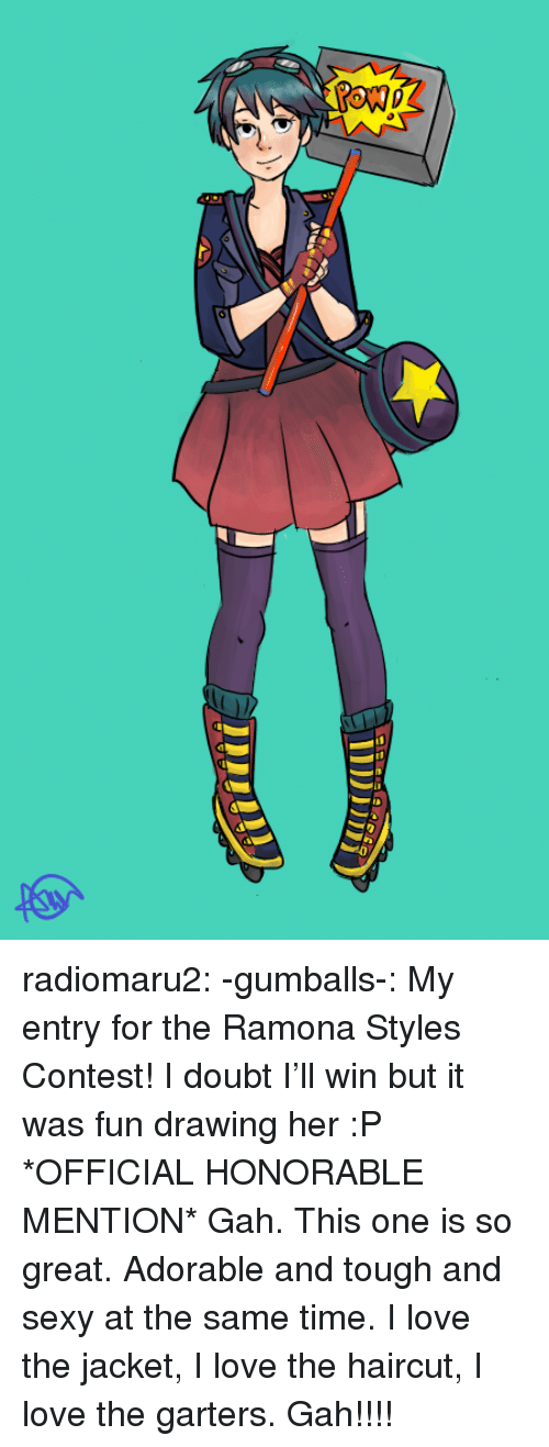 Haircut, Love, and Sexy: radiomaru2:  -gumballs-:  My entry for the Ramona Styles Contest! I doubt I'll win but it was fun drawing her :P  *OFFICIAL HONORABLE MENTION* Gah. This one is so great. Adorable and tough and sexy at the same time. I love the jacket, I love the haircut, I love the garters. Gah!!!!