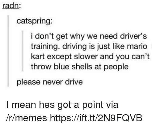 Driving, Mario Kart, and Memes: radn  catspring:  i don't get why we need driver's  training. driving is just like mario  kart except slower and you can't  throw blue shells at people  please never drive I mean hes got a point via /r/memes https://ift.tt/2N9FQVB