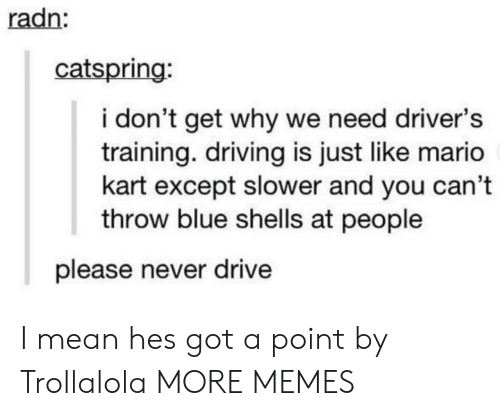 Dank, Driving, and Mario Kart: radn  catspring:  i don't get why we need driver's  training. driving is just like mario  kart except slower and you can't  throw blue shells at people  please never drive I mean hes got a point by Trollalola MORE MEMES