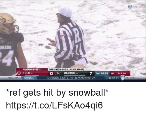 Football, Sports, and Colorado: RADO  THIS SEASON: 89.5% (LEADS PAC-12)  O 5  OREGON STATE vs 18 WASHINGTON1:30 PM PT  REDZONE OFFENSE  COLORADO  U 19 UTAH 73  TOP 25 FOOTBALL  7 2ND 10:38 :16 1sT& GOA  NETWORK *ref gets hit by snowball* https://t.co/LFsKAo4qi6