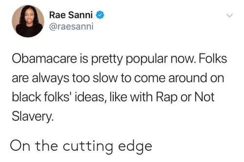 Obamacare: Rae Sanni  @raesanni  Obamacare is pretty popular now. Folks  are always too slow to come around on  black folks' ideas, like with Rap or Not  Slavery. On the cutting edge