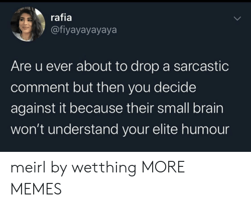 Dank, Memes, and Target: rafia  @fiyayayayaya  Are u ever about to drop a sarcastic  comment but then you decide  against it because their small brain  won't understand your elite humo meirl by wetthing MORE MEMES
