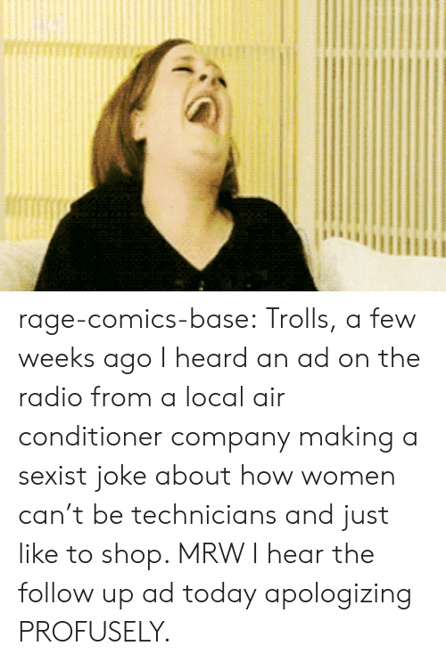 Rage Comics: rage-comics-base:  Trolls, a few weeks ago I heard an ad on the radio from a local air conditioner company making a sexist joke about how women can't be technicians and just like to shop. MRW I hear the follow up ad today apologizing PROFUSELY.