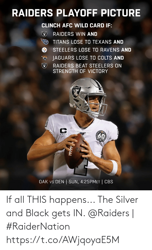 Ravens: RAIDERS PLAYOFF PICTURE  CLINCH AFC WILD CARD IF:  RAIDERS WIN AND  TITANS LOSE TO TEXANS AND  STEELERS LOSE TO RAVENS AND  JAGUARS LOSE TO COLTS AND  RAIDERS BEAT STEELERS ON  STRENGTH OF VICTORY  RAIDERS  RAIDER  60  ****  OAK vs DEN | SUN, 4:25PMET | CBS If all THIS happens... The Silver and Black gets IN.   @Raiders | #RaiderNation https://t.co/AWjqoyaE5M