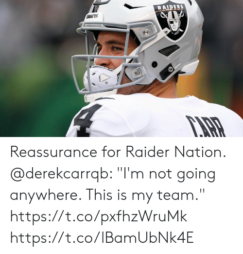 """Memes, Raiders, and 🤖: RAIDERS  RAIDERS Reassurance for Raider Nation.  @derekcarrqb: """"I'm not going anywhere. This is my team."""" https://t.co/pxfhzWruMk https://t.co/lBamUbNk4E"""