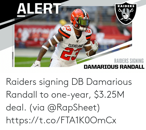 Memes, Raiders, and 🤖: Raiders signing DB Damarious Randall to one-year, $3.25M deal. (via @RapSheet) https://t.co/FTA1K0OmCx