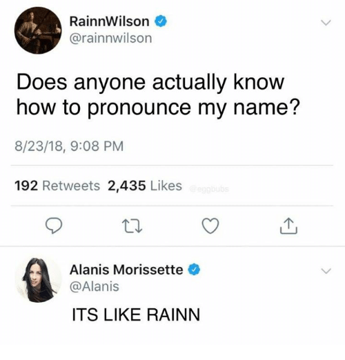 Dank, How To, and Alanis Morissette: RainnWilson  @rainnwilson  Does anyone actually know  how to pronounce my name'?  8/23/18, 9:08 PM  192 Retweets 2,435 Likes  Alanis Morissette  @Alanis  ITS LIKE RAINN
