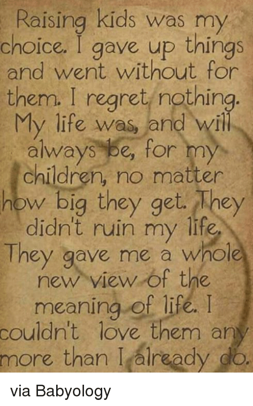 Memes, 🤖, and Meaning of Life: Raising kids was my  choice. I gave up things  and went without for  them. I regret nothing  My life was  and will  always be for my  children, no matter  how big they get hey  didn't ruin my life  They gave me a whole  new view of the  meaning of life, I  couldn't love them any  more than I alread  do via Babyology