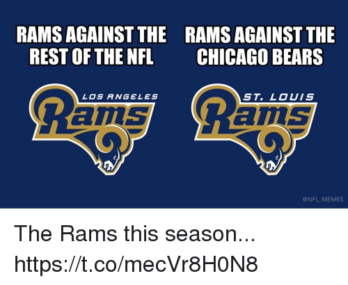Chicago, Chicago Bears, and Football: RAMS AGAINST THE  REST OF THE NFL  RAMS AGAINST THE  CHICAGO BEARS  LOS ANGELES  ST. LOUIS  ams  ILS  @NFL MEMES The Rams this season... https://t.co/mecVr8H0N8