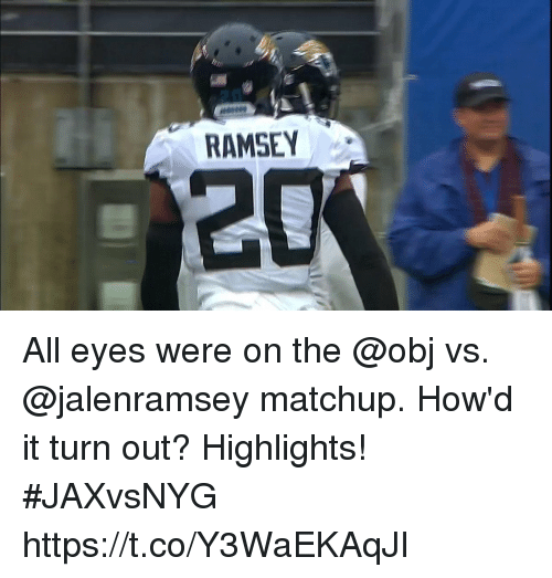 Memes, 🤖, and All: RAMSEY  20 All eyes were on the @obj vs. @jalenramsey matchup.  How'd it turn out? Highlights! #JAXvsNYG https://t.co/Y3WaEKAqJI