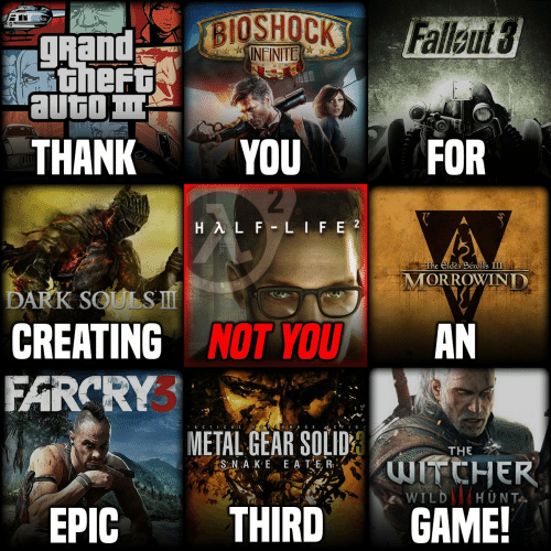 Wild, Metal Gear, and Dark Souls: Rand  Gheft  THANKYOU  FOR  The Elde Scrolls  MORROWIND  DARK SOULS  CREATING NOT YOUAN  FARCRY  TACTICAL  METAL GEAR SOLID  THE  WILD HUNT  EPIC  THIRDGAME!