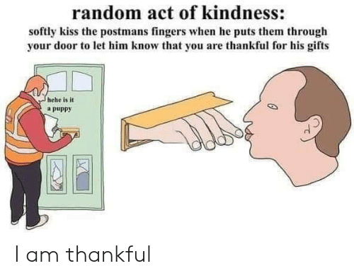 Puts: random act of kindness:  softly kiss the postmans fingers when he puts them through  your door to let him know that you are thankful for his gifts  hehe is it  a puppy I am thankful