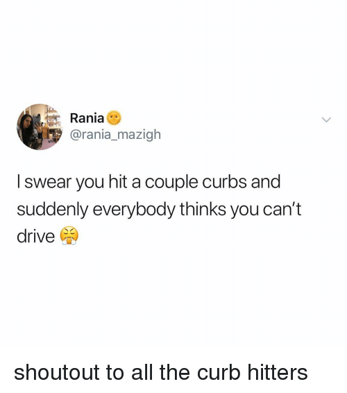 Drive, Relatable, and All The: Rania  @rania_mazigh  I swear you hit a couple curbs and  suddenly everybody thinks you can't  drive shoutout to all the curb hitters