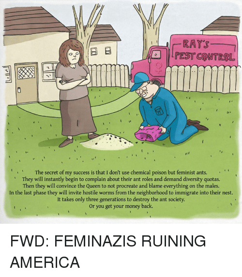forwardsfromgrandma: RATS  Ed B  Q G  The secret of my success is that I don't use chemical poison but feminist ants.  They will instantly begin to complain about their ant roles and demand diversity quotas.  Then they will convince the Queen to not procreate and blame everything on the males.  In the last phase they will invite hostile worms from the neighborhood to immigrate into their nest.  It takes only three generations to destroy the ant society.  or you get your money back. FWD: FEMINAZIS RUINING AMERICA