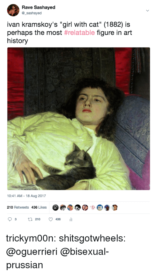"art history: Rave Sashayed  @_sashayed  ivan kramskoy's ""girl with cat"" (1882) is  perhaps the most #relatable figure in art  history  10:41 AM-18 Aug 2017  210 Retweets 436 Likes  03 21° 436 111 trickym00n:  shitsgotwheels: @oguerrieri  @bisexual-prussian"