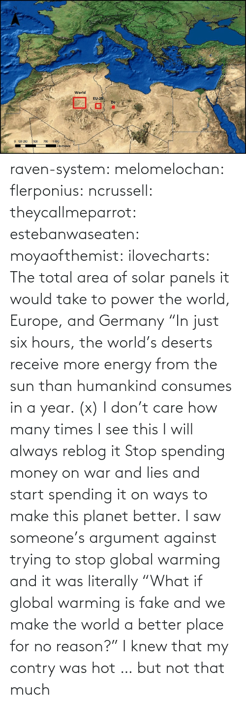 "Energy, Fake, and Global Warming: raven-system:  melomelochan:   flerponius:  ncrussell:  theycallmeparrot:  estebanwaseaten:  moyaofthemist:  ilovecharts:  The total area of solar panels it would take to power the world, Europe, and Germany    ""In just six hours, the world's deserts receive more energy from the sun than humankind consumes in a year. (x)  I don't care how many times I see this I will always reblog it  Stop spending money on war and lies and start spending it on ways to make this planet better.   I saw someone's argument against trying to stop global warming and it was literally ""What if global warming is fake and we make the world a better place for no reason?""  I knew that my contry was hot … but not that much"