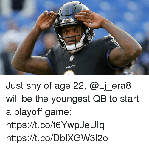 Memes, Game, and Ravens: RAVENS Just shy of age 22, @Lj_era8 will be the youngest QB to start a playoff game: https://t.co/t6YwpJeUIq https://t.co/DblXGW3l2o