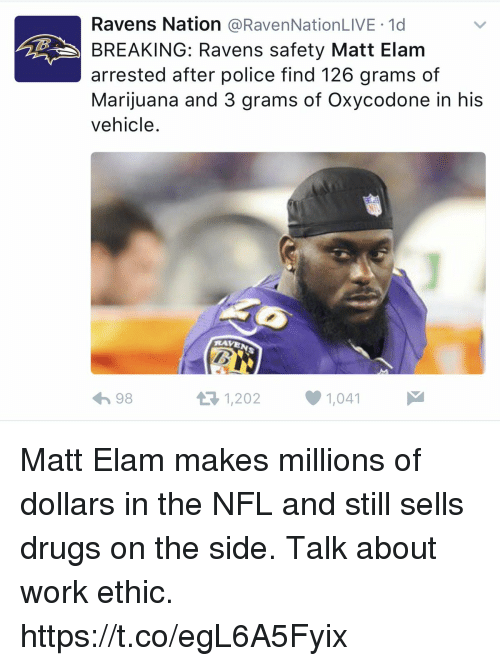 Raveness: Ravens Nation  a RavenNationLIVE 1d  BREAKING: Ravens safety Matt Elam  arrested after police find 126 grams of  Marijuana and 3 grams of Oxycodone in his  vehicle  RAVE  1,202 1,041  it R 98 Matt Elam makes millions of dollars in the NFL and still sells drugs on the side. Talk about work ethic. https://t.co/egL6A5Fyix