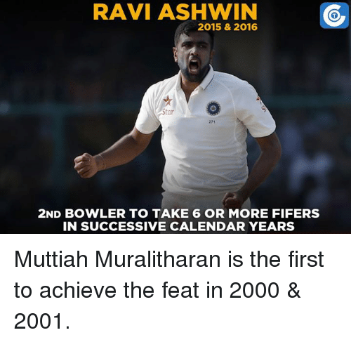 take 6: RAVI ASHWIN  2015 & 2016  Star  271  2ND BOWLER TO TAKE 6 OR MORE FIFERS  IN SUCCESSIVE CALENDAR YEARS Muttiah Muralitharan is the first to achieve the feat in 2000 & 2001.