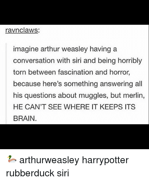 merlin: ravnclaws  imagine arthur weasley having a  conversation with siri and being horribly  torn between fascination and horror,  because here's something answering all  his questions about muggles, but merlin,  HE CAN'T SEE WHERE IT KEEPS ITS  BRAIN. 🦆 arthurweasley harrypotter rubberduck siri