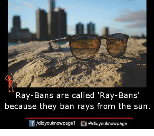 Memes, 🤖, and Sun: Ray-Bans are called 'Ray-Bans'  because they ban rays from the sun  団/d.dyouknowpagel  di @didyouknowpage