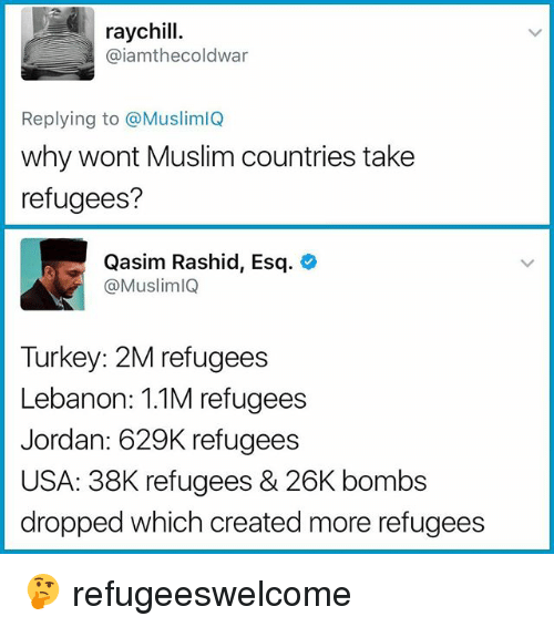 Memes, Muslim, and Jordan: raychill.  @iamthecoldwar  Replying to @MuslimlQ  why wont Muslim countries take  refugees?  Qasim Rashid, Esq.  @MuslimlQ  Turkey: 2M refugees  Lebanon: 1.1M refugees  Jordan: 629K refugees  USA: 38K refugees & 26K bombs  dropped which created more refugees 🤔 refugeeswelcome
