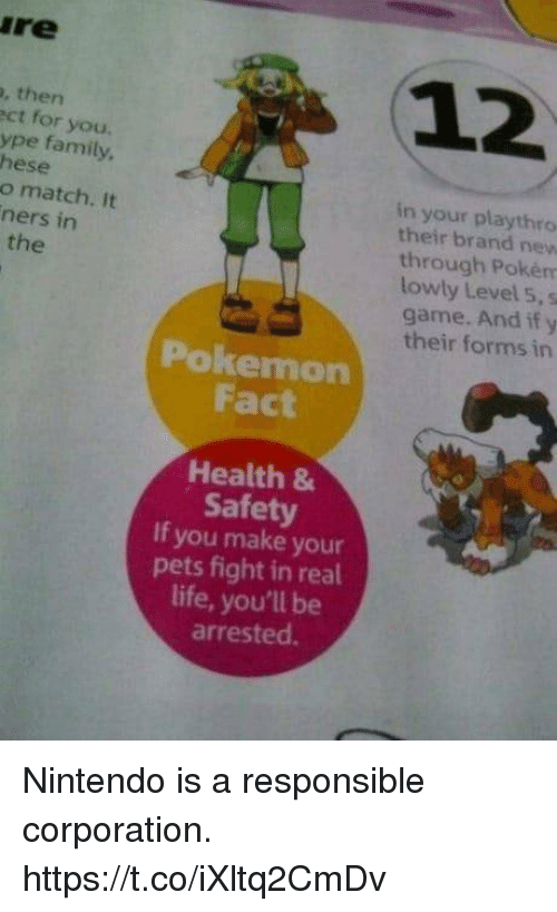 Family, Life, and Nintendo: re  12  , then  ct for you.  ype family  hese  o match. It  ners in  in your playthro  their brand new  through Pokém  lowly Level 5, s  game. And if y  their forms in  the  Pokemon  Fact  Health &  Safety  If you make your  pets fight in real  life, you'll be  arrested. Nintendo is a responsible corporation. https://t.co/iXltq2CmDv