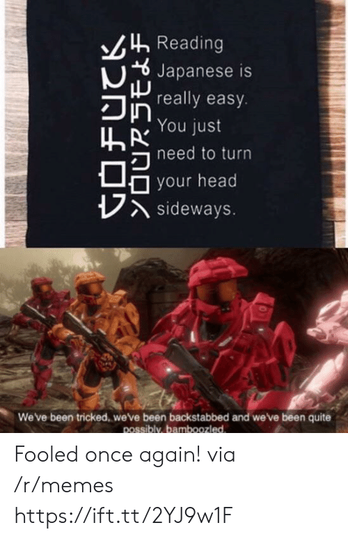 tricked: Reading  Japanese is  really easy.  You just  hneed to turn  your head  Asideways.  We've been tricked, we've been backstabbed and we've been quite  possibly, bamboozled Fooled once again! via /r/memes https://ift.tt/2YJ9w1F